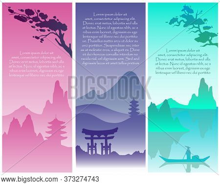 Vector Asian Collection Of Postcards With Traditional Oriental Landscape. Stock Japanese Views With