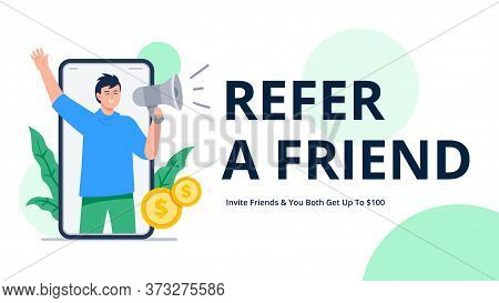 A Man Shouts Into A Megaphone To Attract Friends. Refer A Friend Or Referral Marketing Concept. Soci