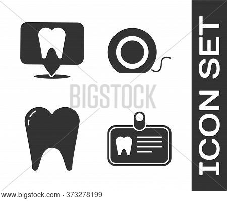 Set Id Card With Tooth, Dental Clinic Location, Tooth And Dental Floss Icon. Vector