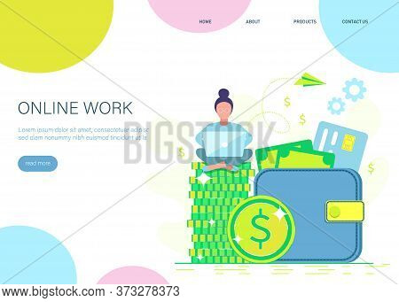 Making money. Flat design. Freelance, remote job, work remotely. Business people. Woman with laptop sitting on wallet. Business people. Business background. Infographic business arrow shape template design. Business background