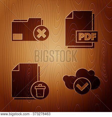 Set Cloud With Check Mark, Delete Folder, Delete File Document And Pdf File Document On Wooden Backg