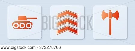 Set Military Rank, Military Tank And Medieval Axe. White Square Button. Vector