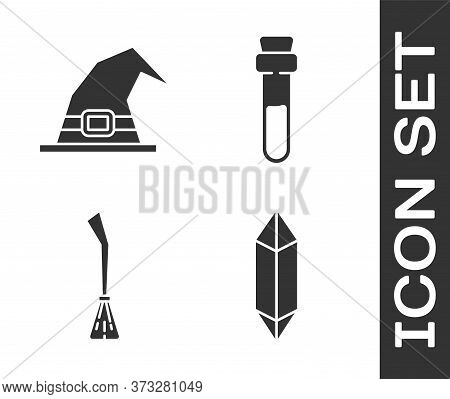 Set Magic Stone, Witch Hat, Witches Broom And Bottle With Love Potion Icon. Vector
