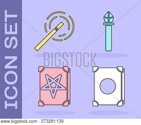 Set Ancient Magic Book, Magic Wand, Ancient Magic Book And Magic Staff Icon. Vector
