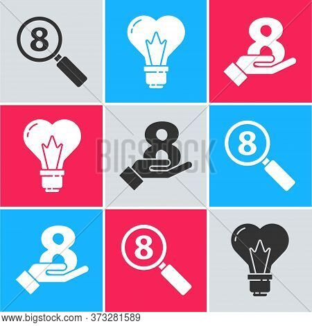 Set Search 8 March, Heart Shape In A Light Bulb And 8 March On Hand Icon. Vector