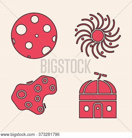 Set Astronomical Observatory, Moon, Black Hole And Asteroid Icon. Vector
