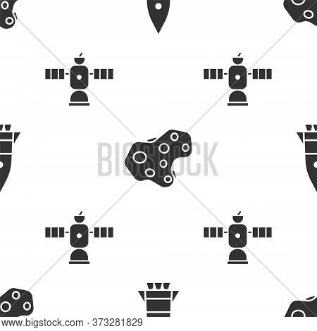 Set Rocket Ship, Asteroid And Satellite On Seamless Pattern. Vector