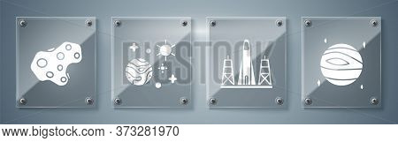 Set Planet Venus, Rocket Launch From The Spaceport, Space And Planet And Asteroid. Square Glass Pane