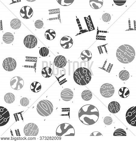 Set Rocket Launch From The Spaceport, Planet, Planet Mars And Planet Venus On Seamless Pattern. Vect