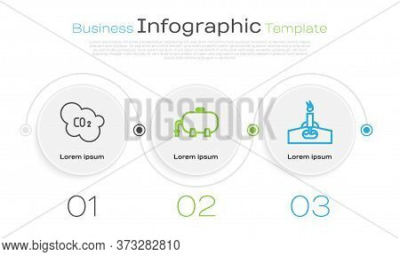 Set Line Co2 Emissions In Cloud, Oil Industrial Factory Building And Oil Rig With Fire. Business Inf
