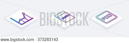 Set Isometric Line Sigma Symbol, Triangle Math And Equation Solution. White Square Button. Vector