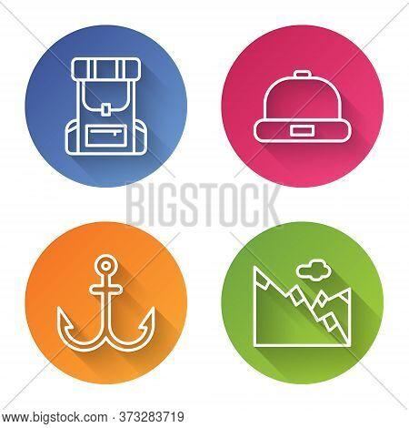 Set Line Hiking Backpack, Beanie Hat, Anchor And Mountains. Color Circle Button. Vector