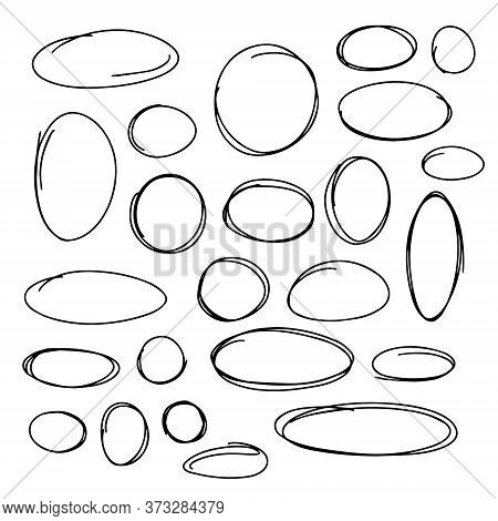 Collection Of The Hand Drawn Line Scribble Circle Sets. Vector Illustration On White Background.