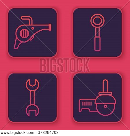 Set Line Leaf Garden Blower, Wrench Spanner, Wrench Spanner And Angle Grinder. Blue Square Button. V