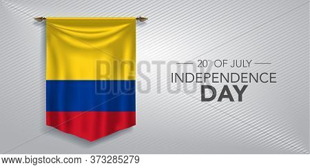 Colombia Independence Day Greeting Card, Banner, Vector Illustration