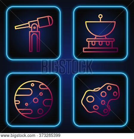 Set Line Asteroid, Satellite Dish, Telescope And Planet Saturn. Gradient Color Icons. Vector