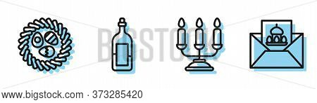 Set Line Candelabrum With Candlesticks, Easter Egg In A Wicker Nest, Bottle Of Wine And Greeting Car