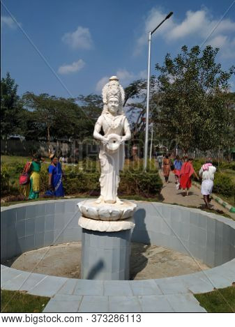 White Statue Of Water Goddess Kaveri In Front Of Railway Station. Cauveri Is An Indian River Flowing