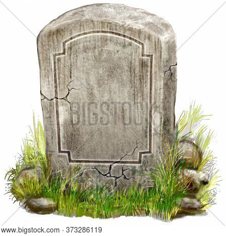 Gravestone Isolated Hand Drawn Digital Painted Illustration. This Illustration Could Be Use Game, Ga