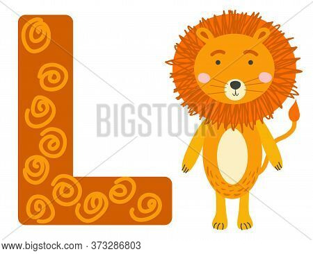 Cute Animal Alphabet For Abc Book. Illustration Of Cartoon. L Letter For The Lion.