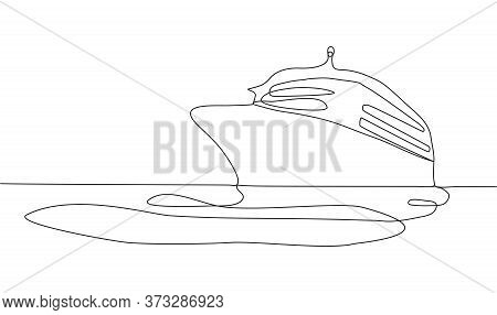 Continuous Line Drawing Of Sailboat, Yacht, Ship, Cruise Linear