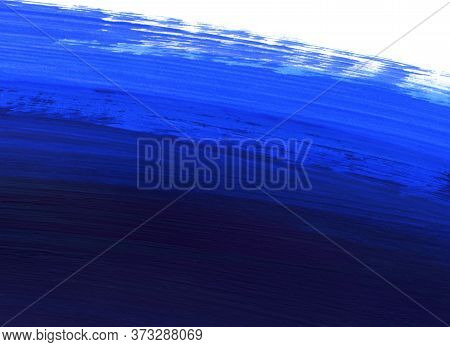 Bright Blue And Dark Blue Paint On White, Hand Drawn Background