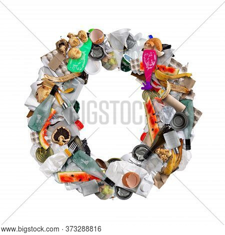 Letter O Made Of Trash Isolated On White Background
