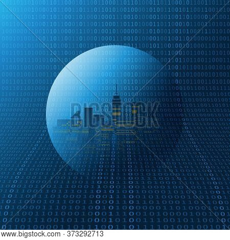 Futuristic Smart City, Iot And Cloud Computing Design Concept With Transparent Globe And Binary Code