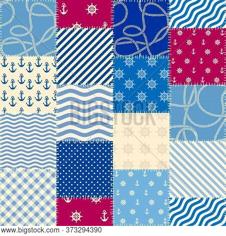 Patchwork Seamless Pattern In Marine Style. Vector Image.