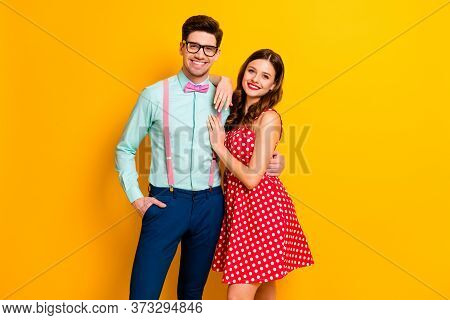 Photo Pretty Charming Lady Handsome Guy Prom Party Couple Hugging Photographing Wear Red Dotted Dres