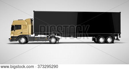 3d Rendering Brown Road Freight Dump Truck With Black Semi Trailer Side View Isolated On Gray Backgr