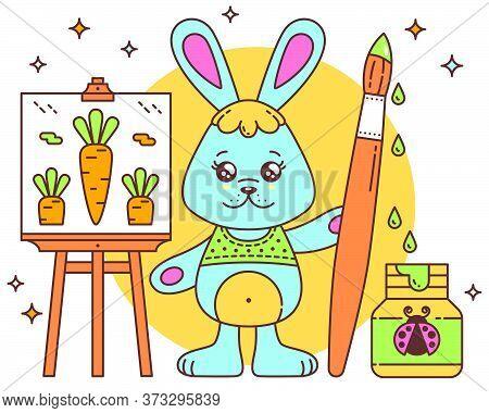 Cute Kawaii Cartoon Bunny Rabbit With Easel And Paint Brush. Bunny Rabbit Draws A Carrot. Grain Text