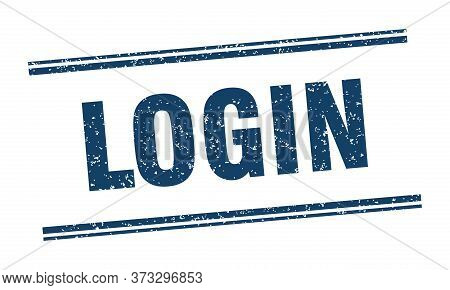 Login Stamp. Login Label. Square Grunge Sign
