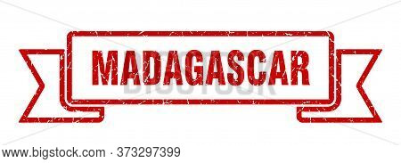 Madagascar Ribbon. Red Madagascar Grunge Band Sign