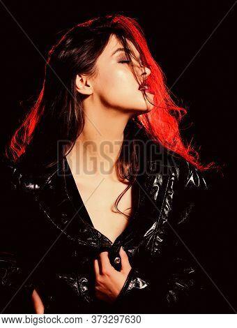 Vampire Aesthetics. Confident Rude Girl. Fashion Industry. Fashion Lady. Desire Concept. Wild Energy