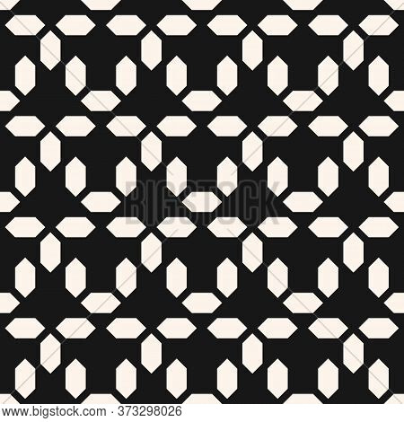 Vector Abstract Monochrome Geometric Seamless Pattern. Simple Ornament With Small Diamond Shapes, Me