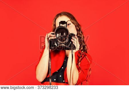 Fashion Journalist Is My Future Career. Little Reporter Make Photo. Vintage Camera. Girl With Retro