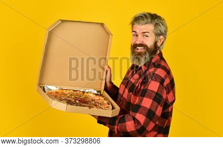 Hungry Man Going To Eat Pizza Alone. Fresh And Hot. In Mood For Italian Food. Man Bearded Hipster Ho