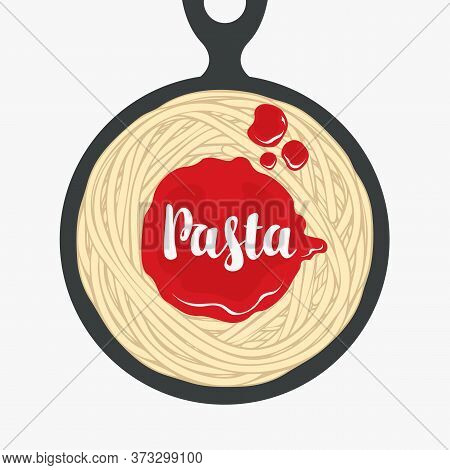 Appetizing Pasta With Ketchup In A Black Frying Pan In Retro Style. Italian Traditional Food. Vector