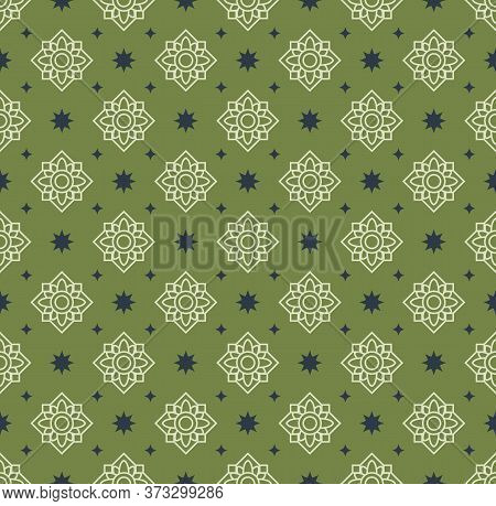 Retro Vintage Chinese Traditional Pattern Seamless Background Green Geometry Cross Frame Flower Kale