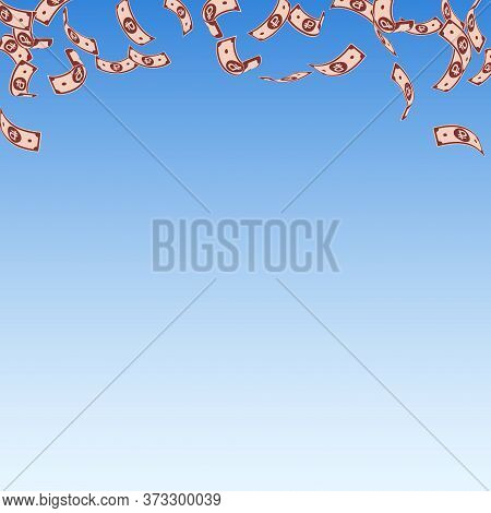 Russian Ruble Notes Falling. Sparse Rub Bills On Blue Sky Background. Russia Money. Beautiful Vector