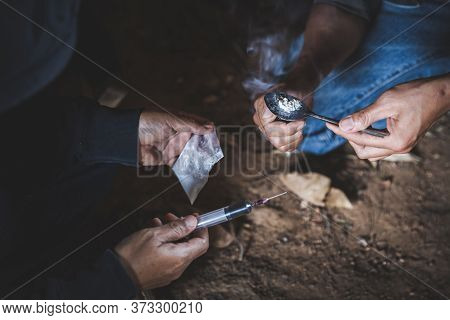 Substance Abuse, Addiction And Bad Habits Concept.  Young People Smoking Cigarettes And Using Drugs.
