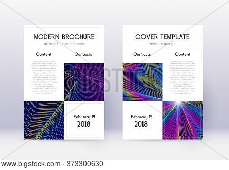 Business Cover Design Template Set. Rainbow Abstract Lines On Dark Blue Background. Astonishing Cove