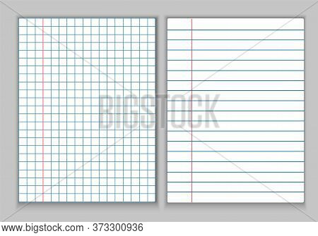 Stationery, White Sheets Of Paper For A Notebook. Sheets In A Cage And In A Line With Fields And A R