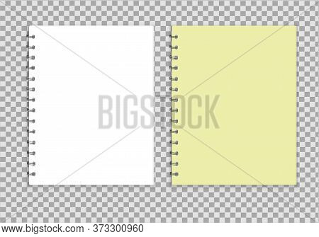 Realistic Notepad Style Layout. Teradi With A Yellow Cap And White, Spiral, Collect Sheets. Blank No