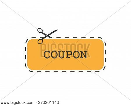 Coupon With Cutting Scissors. Sale Label In Orange Color. Dashed Border. Discount Tag. Template Of P
