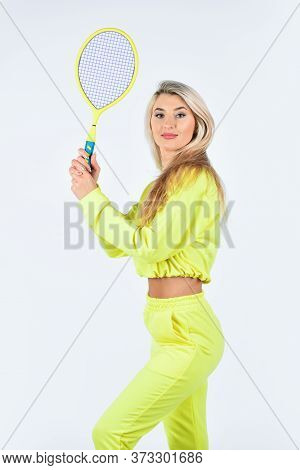 Summer Activity. Fitness Woman. Play Game. Sport For Health. Girl Hold Tennis Racket In Hand. Tennis