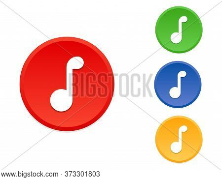 Music Note In Circle. Red, Orange, Green And Blue Musical Notation. Melody Sign In Round Shape. Musi