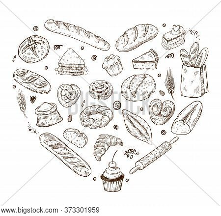 Vector Illustration For Bakery Shops. Heart Shape Composition From Hand Drawn Bread In Sketch Style.