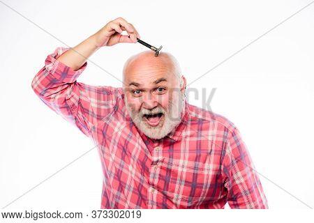 Man Bearded Handsome Barber Carefully Use Tool Shaving Beard. Shaving Facial Hair. Barber Vintage Eq